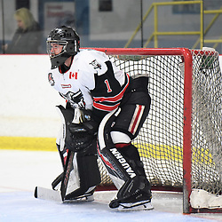 GEORGETOWN, ON - JANUARY 5: Carson Poulin #1 of the Georgetown Raiders follows the play in the third period on January 5, 2019 at Gordon Alcott Memorial Arena in Georgetown, Ontario, Canada.<br /> (Photo by Ken Lamb / OJHL Images)