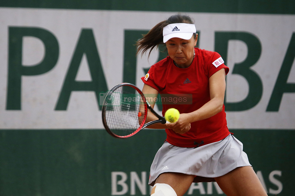 May 21, 2019 - Paris, France - Shuai Peng during the match between Rebecca Sramkova of SVK vs Shuai Peng of CHN in the first round qualifications of 2019 Roland Garros, in Paris, France, on May 21, 2019. (Credit Image: © Ibrahim Ezzat/NurPhoto via ZUMA Press)