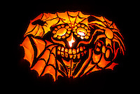 Carved Halloween Pumpkin, Littleton, Colorado USA.