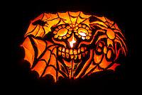 Carved Halloween Pumpkin, Littleton, Colorado USA.