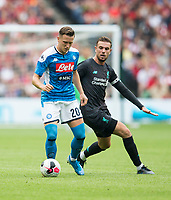 Football - 2019 / 2020 pre-season friendly - Liverpool vs. Napoli<br /> <br /> Piotr Zielinksi of Napoli vies with Jordan Henderson of Liverpool, at Murrayfield, Edinburgh.<br /> <br /> COLORSPORT/BRUCE WHITE