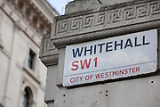 The road sign for Whitehall, SW1. City of Westminster, London.