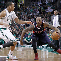 10 May 2012: Boston Celtics shooting guard Avery Bradley (0) defends on Atlanta Hawks point guard Jeff Teague (0) during the Boston Celtics 83-80 victory over the Atlanta Hawks, in Game 6 of the Eastern Conference first-round playoff series, at the TD Banknorth Garden, Boston, Massachusetts, USA.