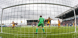 Falkirk's Paul Watson scoring their goal. <br /> Falkirk 1 v 0 Morton, Scottish Championship game  played 1/5/2016 at The Falkirk Stadium.