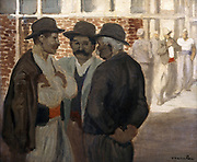 Building Labourers - Masons'  oil on canvas by Theophile Alexandre Steinlen (1859-1923) Swiss painter. Three workmen stand in conversation.