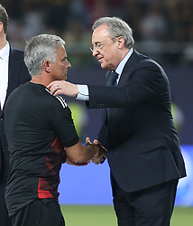 August 8, 2017 - Skopje, Macedonia - Jose Mourinho, Manager of Manchester United shakes hands with Real Madrid President Florentino Perez after the UEFA Super Cup match between Real Madrid and Manchester United at National Arena Filip II Macedonian on August 8, 2017 in Skopje, Macedonia. (Credit Image: © Raddad Jebarah/NurPhoto via ZUMA Press)