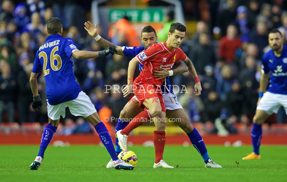 LIVERPOOL, ENGLAND - Thursday, New Year's Day, January 1, 2015: Liverpool's Philippe Coutinho Correia in action against Leicester City during the Premier League match at Anfield. (Pic by David Rawcliffe/Propaganda)