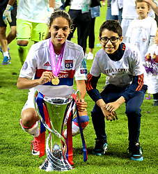 CARDIFF, WALES - Thursday, June 1, 2017: Olympique Lyonnais' Amel Majri celebrates with the trophy after winning the UEFA Champions League following a penalty-shoot out victory during the UEFA Women's Champions League Final between Olympique Lyonnais and Paris Saint-Germain FC at the Cardiff City Stadium. (Pic by David Rawcliffe/Propaganda)
