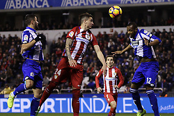 March 2, 2017 - A CoruñA, Galicia - A CO Jose Maria Gimenez defender of Atletico de Madrid (24) and  Sidnei Rechel (12) of Deportivo de La Coruña jump to head the ball during the La Liga Santander match between Deportivo de La Coruña and Atletico de Madrid at Riazor Stadium on March 2, 2017 in A Coruña, Spain. (Credit Image: © Jose Manuel Alvarez Rey/NurPhoto via ZUMA Press)
