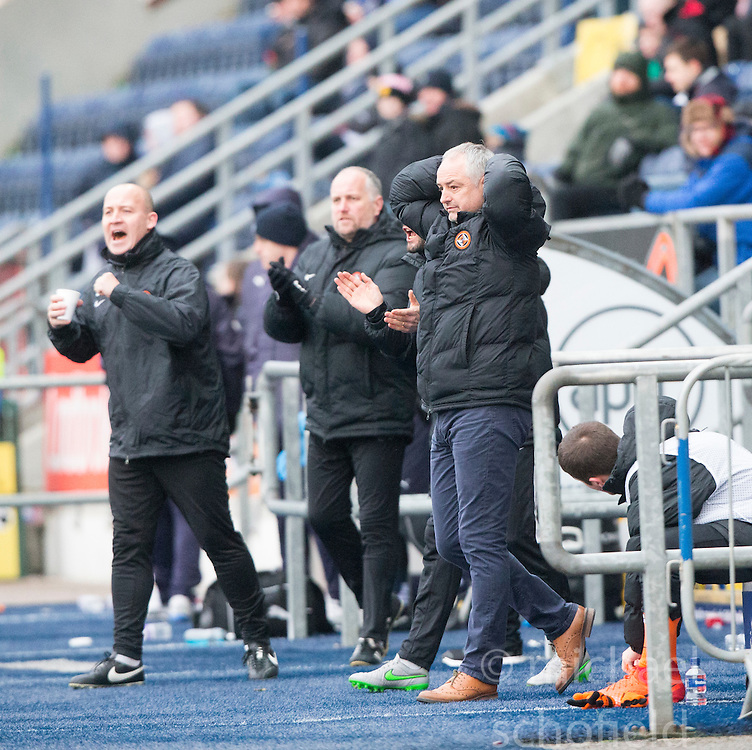 Dundee United's manager Ray McKinnon during the second half. Falkirk 3 v 0 Dundee United, Scottish Championship game played 11/2/2017 at The Falkirk Stadium.