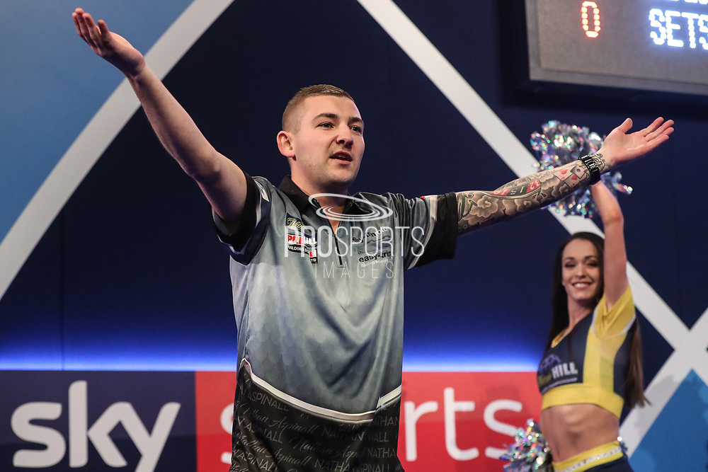 Nathan Aspinall takes to the stage for his semi final match during the World Darts Championships 2018 at Alexandra Palace, London, United Kingdom on 30 December 2018.