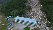LIUZHOU, CHINA - APRIL 21: (CHINA OUT) <br /> <br /> Aerial view of the primary school hit by the landslide in Liuliao village, Rong\'an County on April 21, 2016 in Liuzhou, Guangxi Zhuang Autonomous Region of China. 21 pupils got injured after the landslide making the school walls collapsed on Thursday in Rongan. <br /> ©Exclusivepix Media