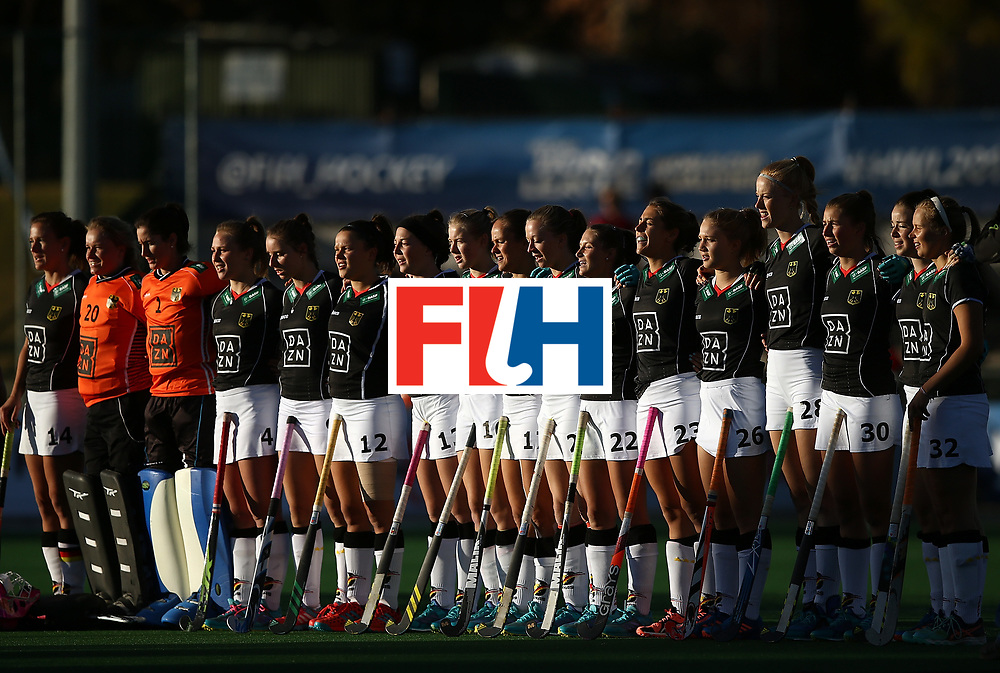 JOHANNESBURG, SOUTH AFRICA - JULY 20:  Germany players sing their national anthem during day 7 of the FIH Hockey World League Women's Semi Finals semi final match between Germany and Argentina at Wits University on July 20, 2017 in Johannesburg, South Africa.  (Photo by Jan Kruger/Getty Images for FIH)