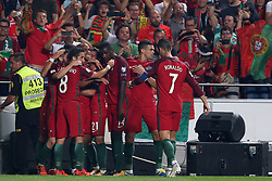 October 10, 2017 - Lisbon, Portugal - Portugal's midfielder Joao Mario celebrates with teammates after scoring during the 2018 FIFA World Cup qualifying football match between Portugal and Switzerland at the Luz stadium in Lisbon, Portugal on October 10, 2017. Photo: Pedro Fiuza  (Credit Image: © Pedro Fiuza/NurPhoto via ZUMA Press)