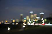 Blurred, Downtown, Houston, skyline, full moon, Buffalo Bayou Park, Allen Parkway, Texas.