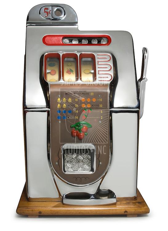 Antique five cent chrome slot machine