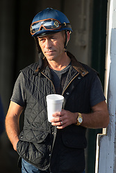 Derby 142 hopeful Mor Spirit jockey Gary Stevens  was at the track for training, Monday, May 02, 2016 at Churchill Downs in Louisville.