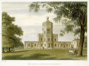 Radcliffe Observatory, Oxford, England, 1834.  Hand-coloured engraving.
