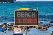 Sydney, Australia. Saturday 25th April 2020. Bronte Beach in Sydney's eastern suburbs is closed due to the COVIC-19 pandemic. Credit Paul Lovelace/Alamy Live News
