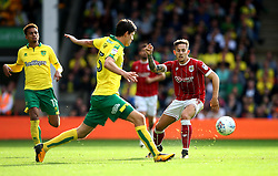 Josh Brownhill of Bristol City puts Timm Klose of Norwich City under pressure - Mandatory by-line: Robbie Stephenson/JMP - 23/09/2017 - FOOTBALL - Carrow Road - Norwich, England - Norwich City v Bristol City - Sky Bet Championship