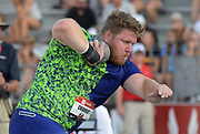 Jul 26, 2019; Des Moines, IA, USA; Ryan Crouser wins the shot put with a facility record 74-2 1/2 (22.62m) during the USATF Championships at Drake Stadium.