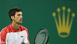 SHANGHAI, Oct. 9, 2018  Serbia's Novak Djokovic reacts during the men's singles second round match against France's Jeremy Chardy at the Shanghai Masters tennis tournament on Oct. 9, 2018. Novak Djokovic won 2-0. (Credit Image: © Ding Ting/Xinhua via ZUMA Wire)