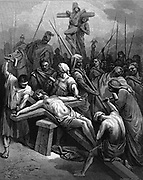 Crucifixion'. Jesus nailed to the cross. St John 19.18.  Iullustration by Gustave Dore (1832-1883) for 'The Bible' (London 1866). Wood engraving.