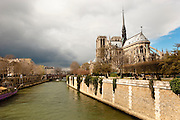 Stock  / View of Notre Dame from the Seine River.
