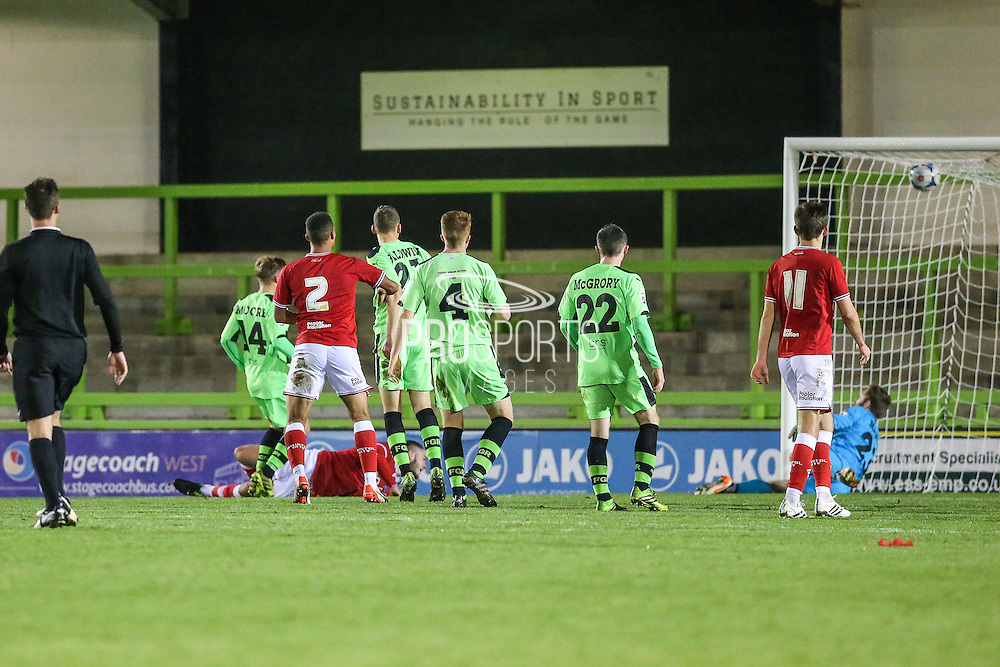 Bristol City's Jack Batten equalises during the The County Cup match between Forest Green Rovers and Bristol City at the New Lawn, Forest Green, United Kingdom on 23 November 2015. Photo by Shane Healey.