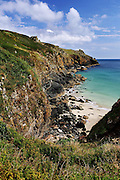 The beautiful little Housel Bay on the Lizard Peninsula in southern Cornwall