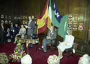 State Visit of King Juan Carlos and Queen Sophia of Spain to Ireland.<br /> 1986.<br /> 30.06.1986<br /> 06.30.1986.<br /> 30th June 1986.<br /> King Juan Carlos and Queen Sophia paid a state visit to Ireland at the invitation of President Hillery and the Irish people.<br /> The duration of the visit was three days.<br /> <br /> King Juan Carlos is pictured thanking The Lord Mayor and also speaking of the history that is shared between Spain and Ireland. Queen Sophia and Mrs Kathleen Tunney are included in the picture.