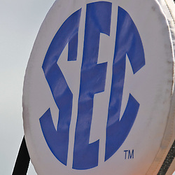 October 8, 2011; Baton Rouge, LA, USA;  A detailed view of a yard marker with the SEC conference logo during the first quarter of a game between the LSU Tigers and the Florida Gators at Tiger Stadium.  Mandatory Credit: Derick E. Hingle-US PRESSWIRE / © Derick E. Hingle 2011