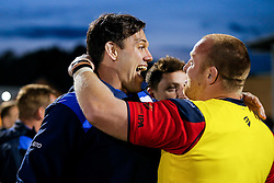 Glen Townson and Hooker Ross McMillan celebrate after Bristol Rugby win 13-28 to take a 15 point lead into the second leg of the Final - Mandatory byline: Rogan Thomson/JMP - 18/05/2016 - RUGBY UNION - Castle Park - Doncaster, England - Doncaster Knights v Bristol Rugby - Greene King IPA Championship Play Off FINAL 1st Leg.