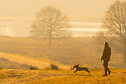 UNITED KINGDOM, London: 26 February 2019. A walker and his dog make their way through Richmond Park this morning during sunrise on what is set to be the warmest day in February since records began. Temperatures are set to reach up to 20 degrees Celsius in the capital today. Rick Findler / Story Picture Agency