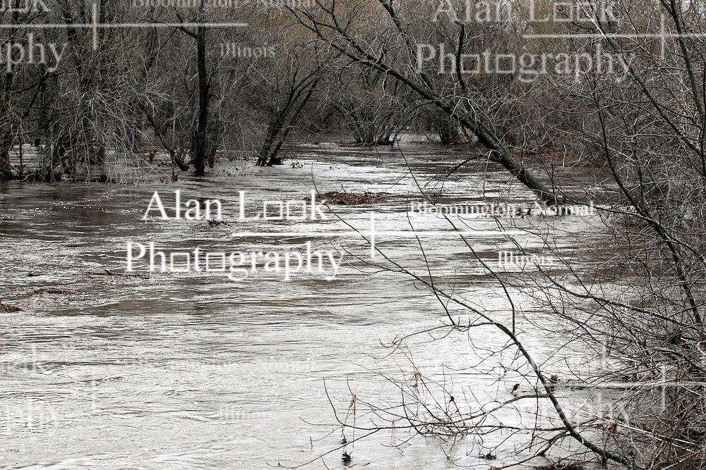 19 April 2013:   The Mackinaw River north of Carlock and Congerville is swollen from a torrent of rain received in the region over the past several days.