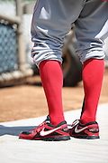 LOS ANGELES, CA - JULY 28:  Joey Votto #19 of the Cincinnati Reds wears red leggings as part of his uniform during batting practice before the game against the Los Angeles Dodgers on Sunday, July 28, 2013 at Dodger Stadium in Los Angeles, California. The Dodgers won the game in a 1-0 shutout. (Photo by Paul Spinelli/MLB Photos via Getty Images) *** Local Caption *** Joey Votto