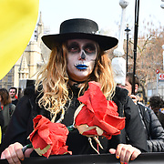 Activists holds a ceremony and funeral procession around Parliament Square led by a New Orleans brass band and large scale skeleton puppets blocked road around Parliament and planing to stay all weekon 15 April 2019, if they got the FREEDOM to protest like the yellow vests protest and camping for months old and young follow a 16 yeats old tratiors in HK, London, UK.