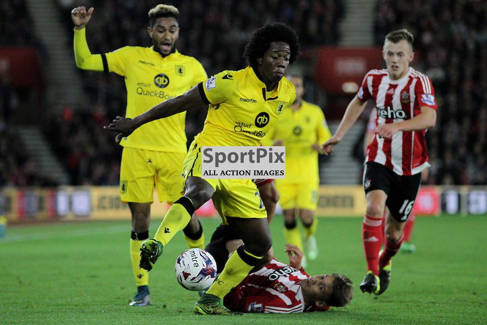Gaston Ramirez attempts to keep the ball from Jordan Amavi and Carlos Sanchez, During Southampton vs Aston Villa on Wednesday the 28th October 2015.