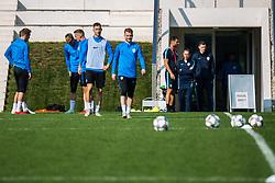 Andraz Sporar and Rudi Pozeg Vancas during practice session of Slovenian national football team, on October 10, 2018 in National Football Center Brdo, Kranj, Slovenia. Photo by Grega Valancic / Sportida
