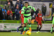 Forest Green Rovers Tahvon Campbell(14) chases down the ball during the EFL Sky Bet League 2 match between Forest Green Rovers and Grimsby Town FC at the New Lawn, Forest Green, United Kingdom on 22 January 2019.