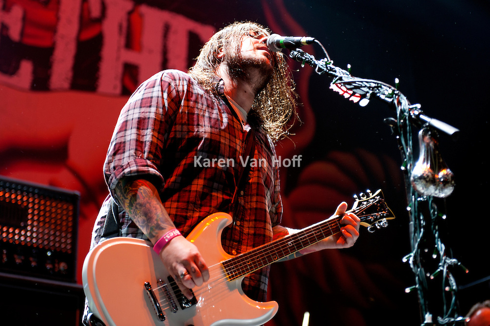 Seether performing at the First Midwest Bank Amphitheater in Tinley Park, IL on the Uproar Tour on Sept. 18, 2011