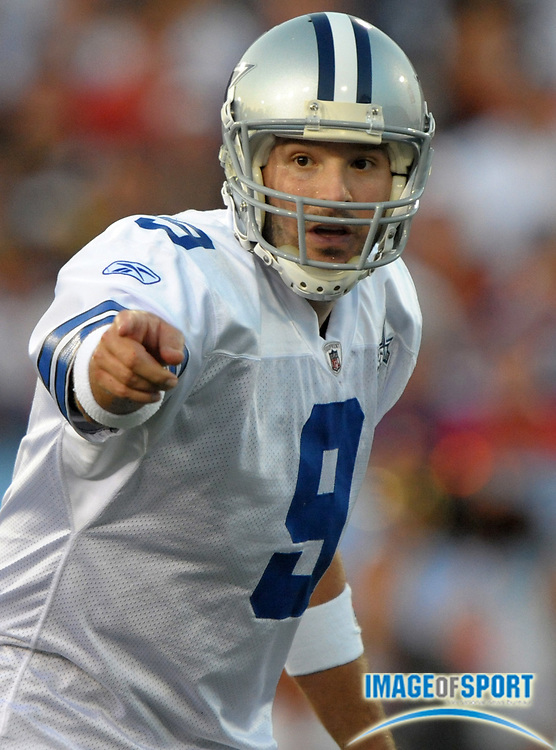 Aug 8, 2010; Canton, OH, USA; Dallas Cowboys quarterback Tony Romo (9) calls an audible during the first quarter of a preseason game against the Cincinnati Bengals at Fawcett Stadium. Photo by Image of Sport