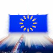Stockshots in the European Parliament of Strasbourg - European flag