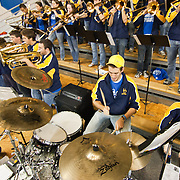 11/11/11 Newark DE: University of Delaware prep band playing in the stands during a week one NCAA Women's College basketball game, Friday, Nov. 11, 2011 at the Bob carpenter center in Newark Delaware...Delaware would go on to defeat the Rhode Island rams 89-53...Special to The News Journal/SAQUAN STIMPSON