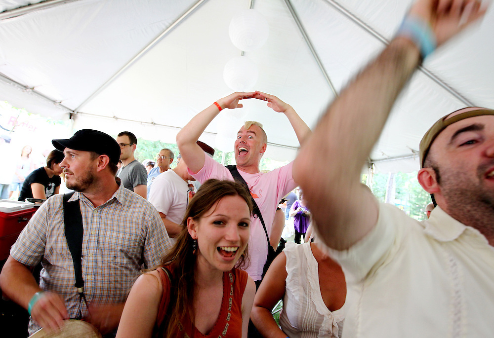 An afternoon of Beer 'N' Hymns rocks the Beer Tent at the Wild Goose Festival at Shakori Hills in North Carolina June 24, 2011.  (Photo by Courtney Perry)
