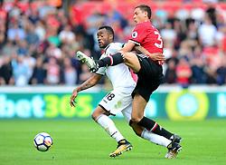 Nemanja Matic of Manchester United fouls Jordan Ayew of Swansea City - Mandatory by-line: Alex James/JMP - 19/08/2017 - FOOTBALL - Liberty Stadium - Swansea, England - Swansea City v Manchester United - Premier League