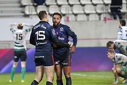 December 8, 2017 - Paris, France, France - Joie de Yobo et Martial sur l essai de Martial pour le Stade Francais (Credit Image: © Panoramic via ZUMA Press)