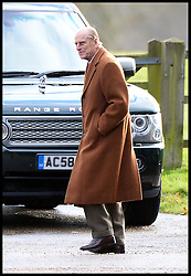 The Duke of Edinburgh attends a church service on the Sandringham estate in Norfolk, United Kingdom. Sunday, 22nd December 2013. The Royal Family will spend Christmas at Sandringham. Picture by Andrew Parsons / i-Images