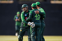 EDINBURGH, SCOTLAND - JUNE 12:Pakistan celebrate the wicket of Scotland captain, Kyle Coetzer, in the first of 2 Twenty20 Internationals at the Grange Cricket Club on June 12, 2018 in Edinburgh, Scotland. (Photo by MB Media/Getty Images)