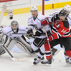 June 9, 2012: Los Angeles Kings goalie Jonathan Quick (32) looks for the puck through traffic during third period action in game 5 of the NHL Stanley Cup Final between the New Jersey Devils and the Los Angeles Kings at the Prudential Center in Newark, N.J. The Devils defeated the Kings 2-1.